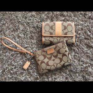 Vintage Coach Leatherware Wallet and Wristlet
